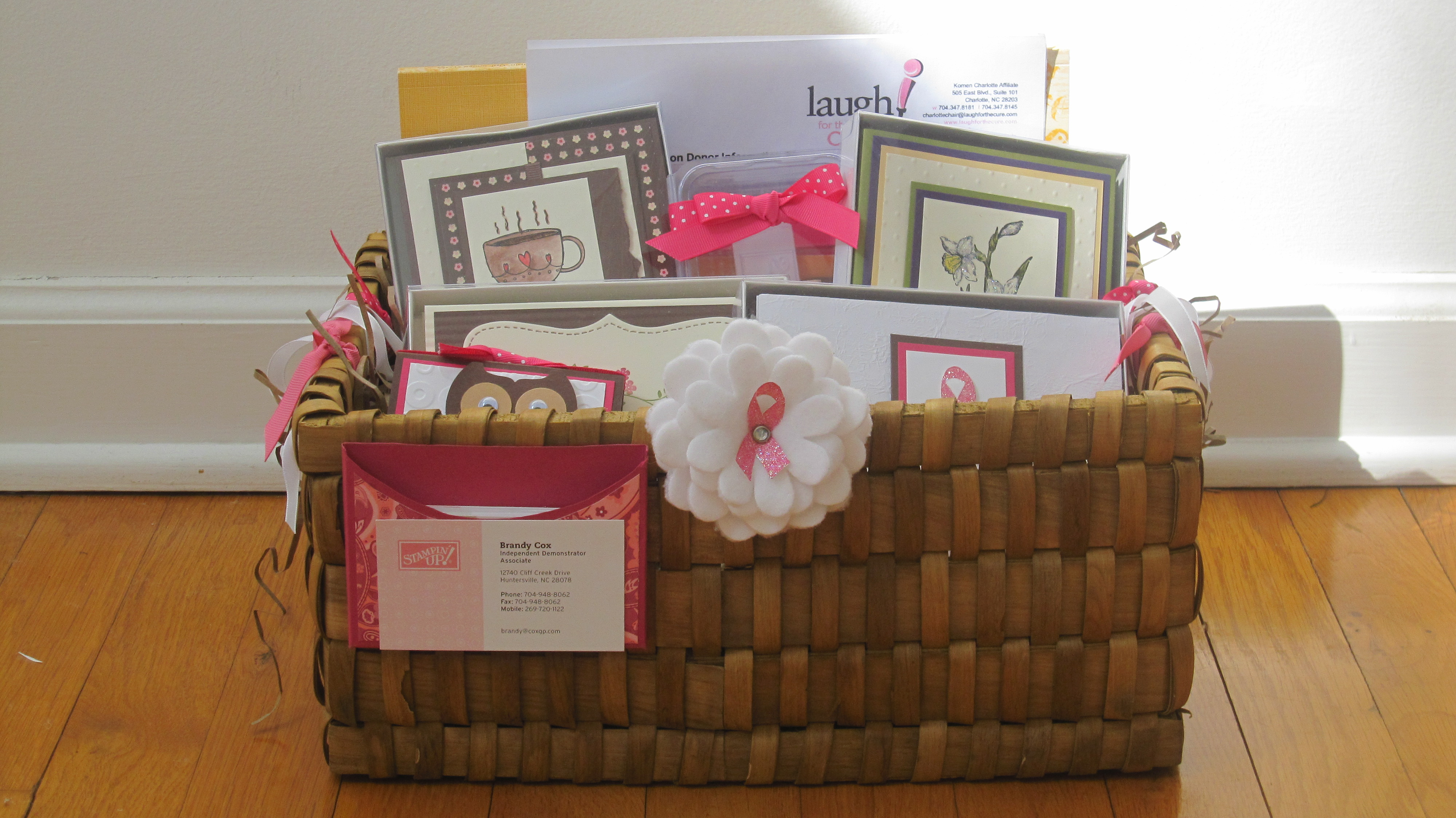 Laugh for a Cure Card Basket Donation from BrandysCards.com