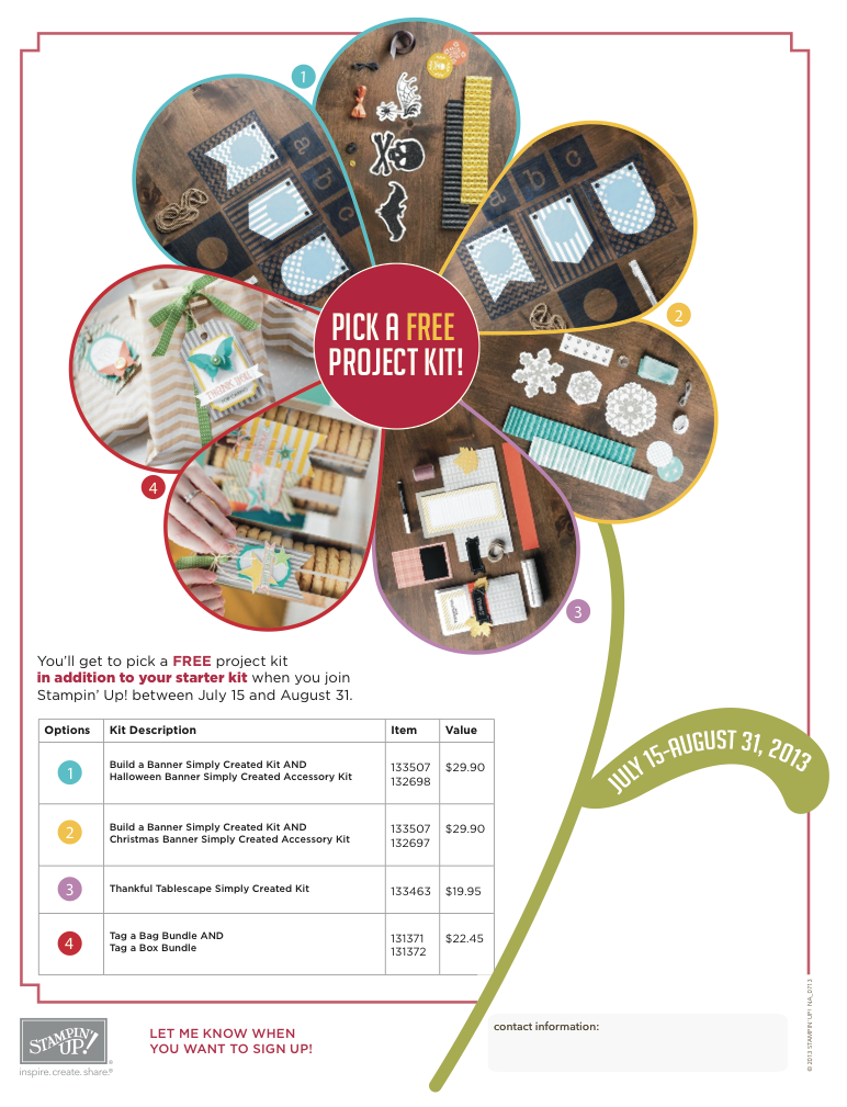 Stampin Up Join My Team & Pick a Project Kit For FREE!