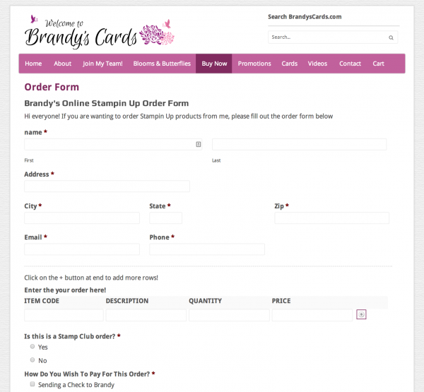 Stampin Up Online Order Form