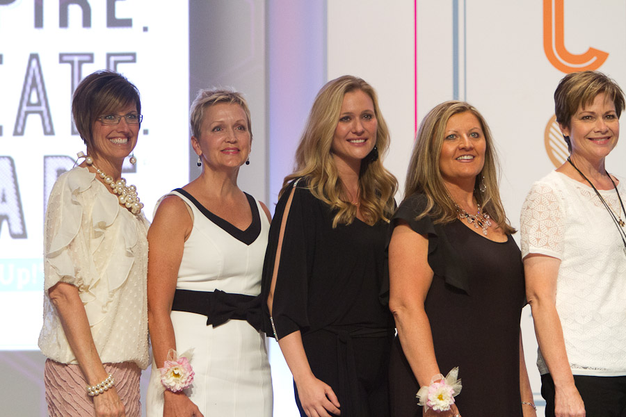 (From the left). Stampin Up CEO and Founder Shelli Gardner, Mary Fish, Brandy Cox, Angie Juda, Becky Roberts